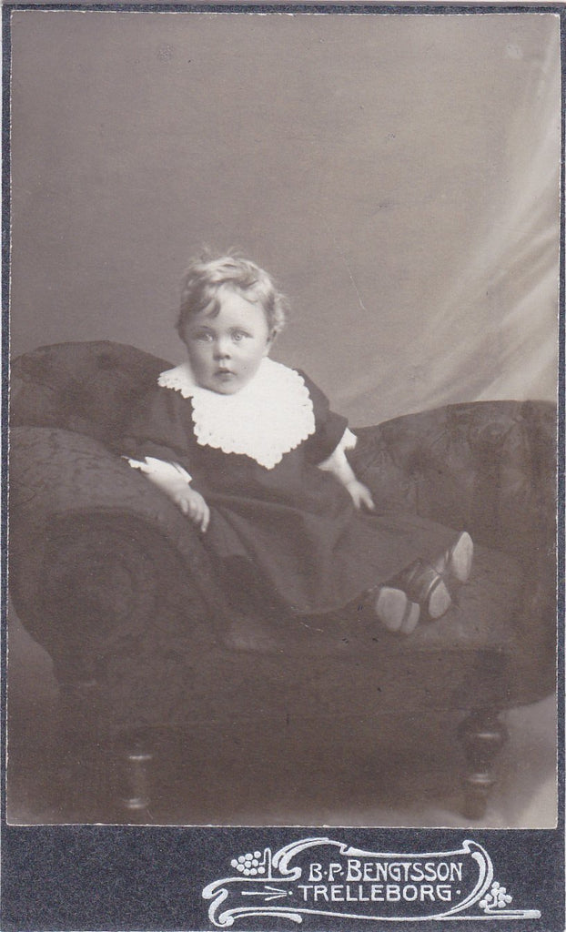 Little Chaise Lounge- 1800s Antique Photograph- Victorian Child- CDV Photo- Photographer B P Bengtsson- Trelleborg, Sweden- Carte de Visite- Found Photo