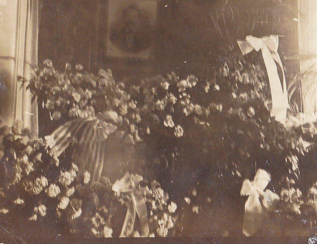 At Rest- 1910s Antique Photograph- Funeral Flowers- Mourning Ephemera- Haunting- Found Photo- AZO RPPC- Real Photo Postcard