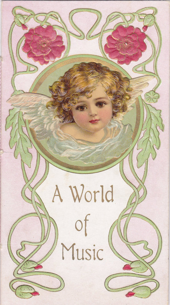 A World Of Music- 1800s Antique Booklet- For You and Me- Victorian Love Poem- Art Nouveau- Lithograph Art Card- Cherub Angel- Paper Ephemera