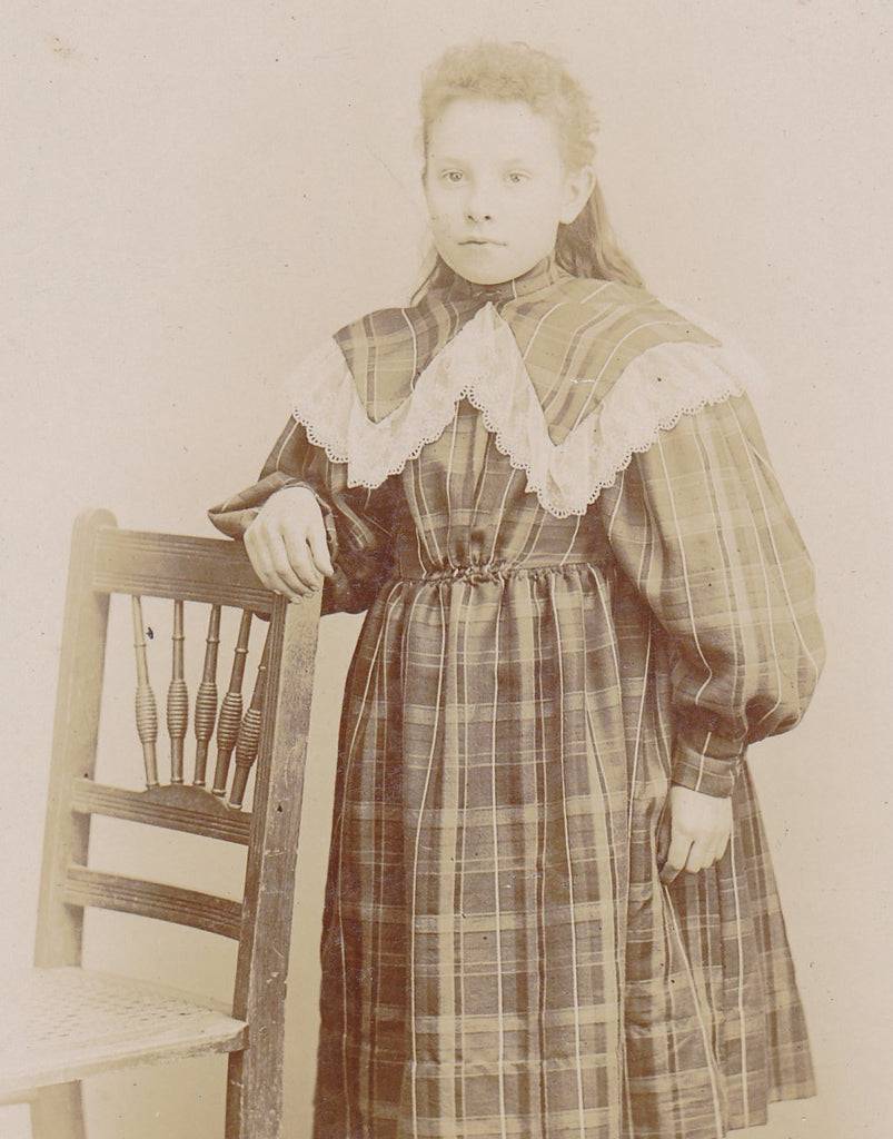 Ghostly Victorian Girl- 1800s Antique Photograph- Plaid Dress- Cabinet Photo- Mechanicsburg, PA- J E Taylor- 19th Century- Empty Chair