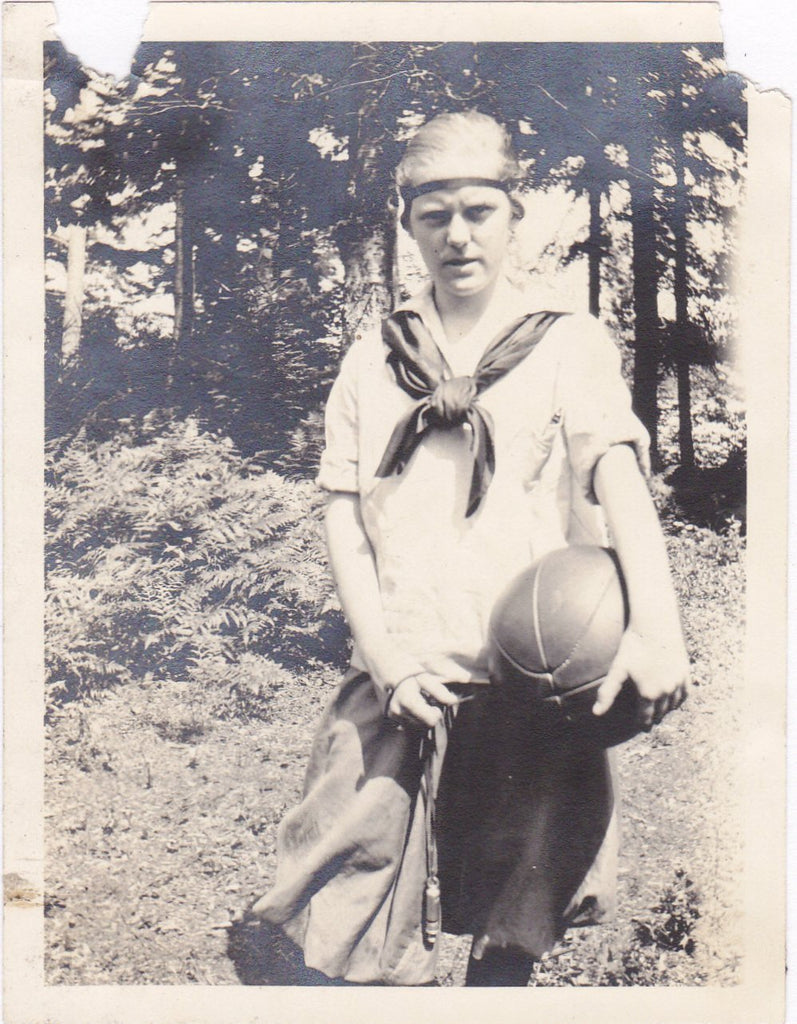 Outdoor Athletics- 1920s Antique Photograph- Medicine Ball- Edwardian Gym Uniform- School Girl- Found Photo- Snapshot- Vernacular