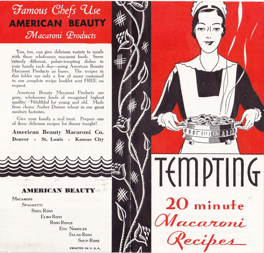 Tempting 20 Minute Macaroni- 1920s Antique Brochure- American Beauty Macaroni Products- Advertisement- Recipes- Waitress- Paper Ephemera