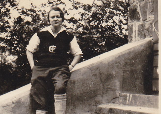 Lady Football Player- 1930s Vintage Photograph- College Sports- Sporty Woman in Uniform- Found Photo- Vernacular- Snapshot- Ephemera