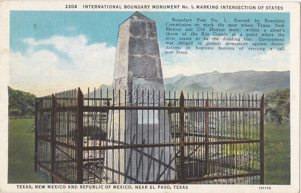 International Boundary Monument No. 1- 1940s Vintage Postcard- El Paso, TX- Texas Landmark- Souvenir View- C. T. American Art- Used