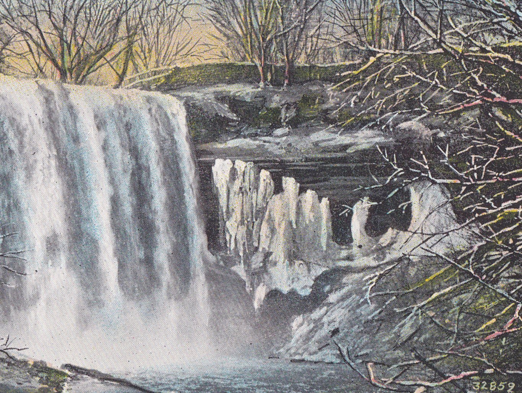 Minnehaha Falls in Winter- 1940s Vintage Postcard- Ice Fountain- Minneapolis, MN- H A Olson- Souvenir Natural Landmark- H. A. Olson