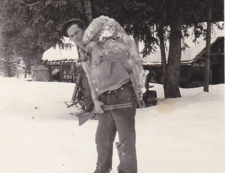 Me, 30.30 and A Coyote- 1940s Vintage Photograph- Dead Animal- Winchester Rifle- Hunting Trip- Found Photo- Vernacular Snapshot