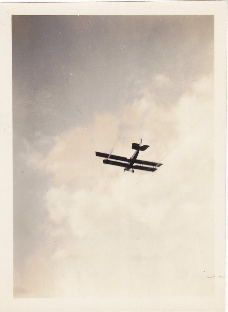 Biplane- 1920s Antique Photographs- SET of 2- Plane in the Sky- Found Photos- Vernacular- Snapshots- Paper Ephemera
