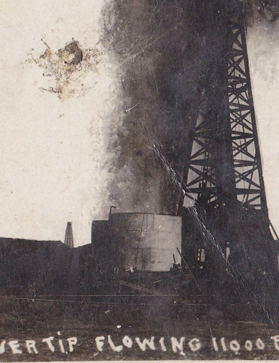 Silver Tip Oil Well- 1900s Antique Photograph- Coalinga, CA- Sept. 22, 1909- Cyko RPPC- Real Photo Postcard- Oil Gusher History
