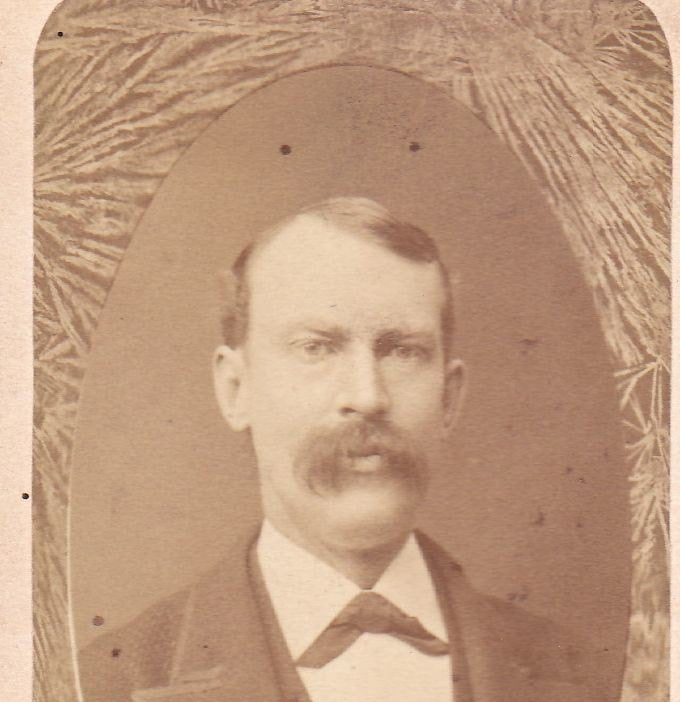 Victorian Gentleman- 1800's Antique Photograph- Fern Border Memorial- Lebanon, New Hampshire- Mustache Man- CDV Photo