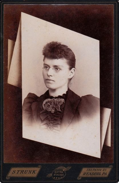 The Better to See You- Woman in Spectacles-  Victorian Memorial Portrait- Reading, Pennsylvania- 1800s Antique Photograph- Cabinet Photo- Photographer Strunk
