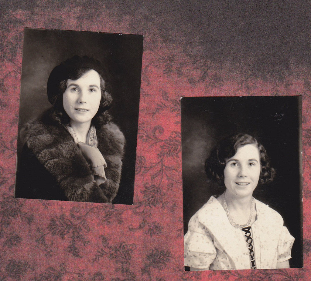 Photo Booth Fabulous- 1930s Vintage Photographs- SET of 2- Winter and Spring- Beautiful Woman- Photo-Booth Portraits