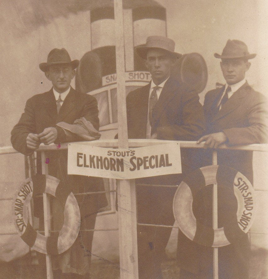 S.S. Snapshot- 1900s Antique Photograph- Stout's Elkhorn Special- Edwardian Novelty Portrait-  Real Photo Postcard- RPPC