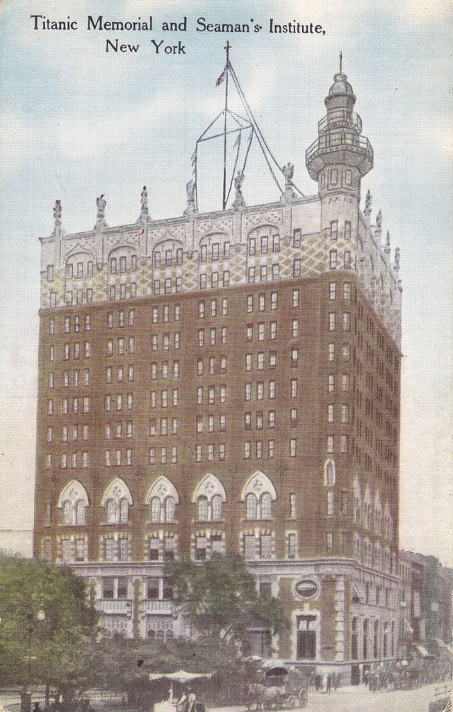 Titanic Memorial and Seaman's Institute Building- 1910s Antique Postcard- New York City- NYC Souvenir- Edwardian Decor- Success Postal Card Co.