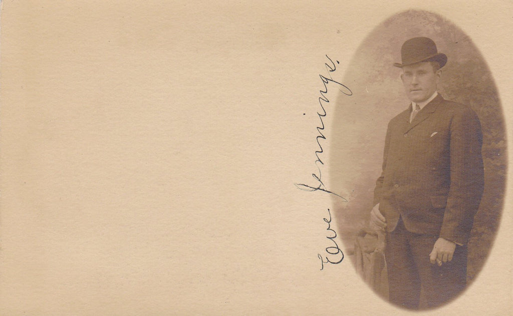 Mr. Eve Jennings- Victorian Man- Atlantic City Mailing Card- Identified Portrait- 1800s Antique Photograph- Real Photo Postcard- RPPC
