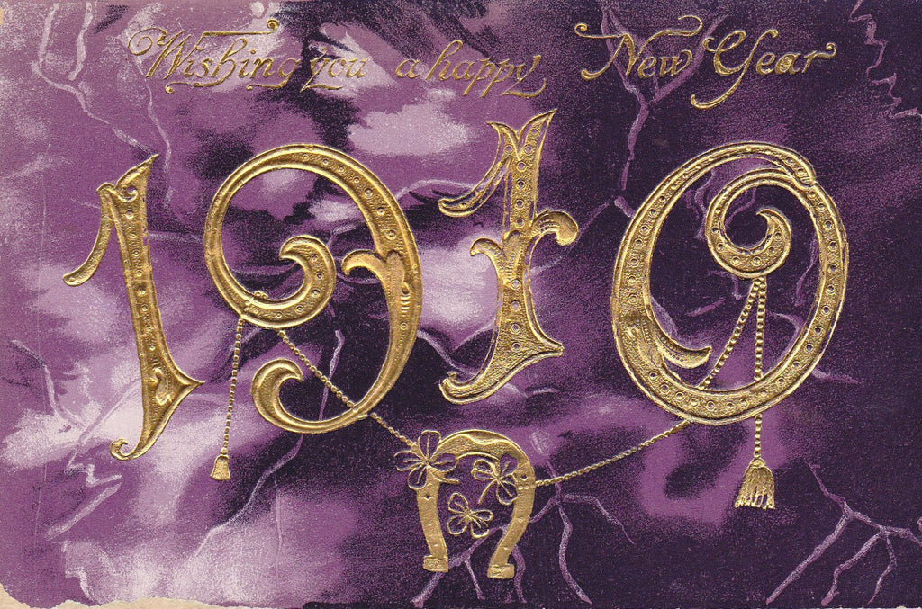 Wishing You a Happy New Year- 1910s Antique Postcards- SET of 2- Purple Marble- Gilded Greetings- Printed in Saxony- Used