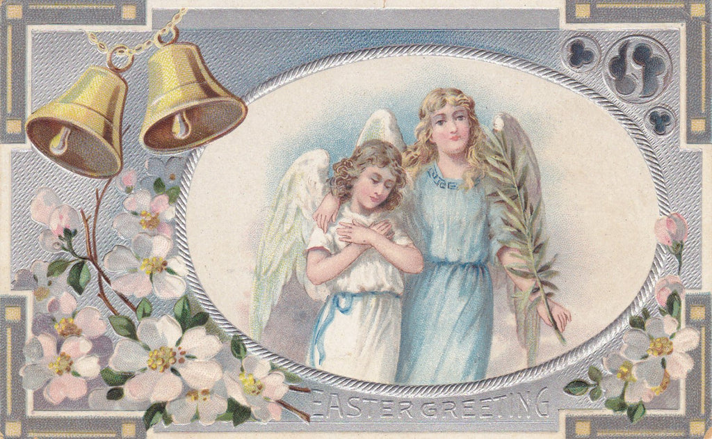 Easter Angels- 1910s Antique Postcard- Dogwood Flowers- Palm Frond- Church Bells- Edwardian Easter- Art Nouveau- Embossed- Used