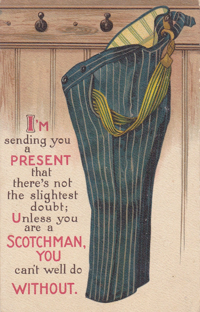 Can't Do Without Pants- 1910s Antique Postcard- Unless You Are A Scotchman- Scottish Joke- Old Art Comic- B B London- Used
