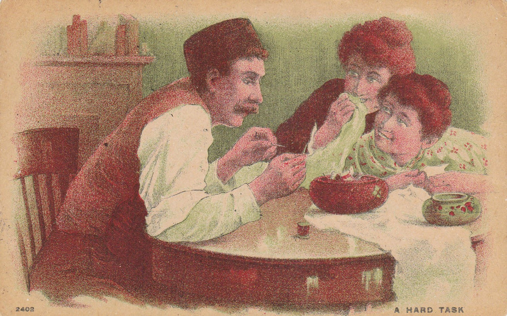Not Sew Easy- 1900s Antique Postcard- Man Attempting to Thread a Needle- Giggling Girls- Old Art Comic- Edwardian Decor- Used