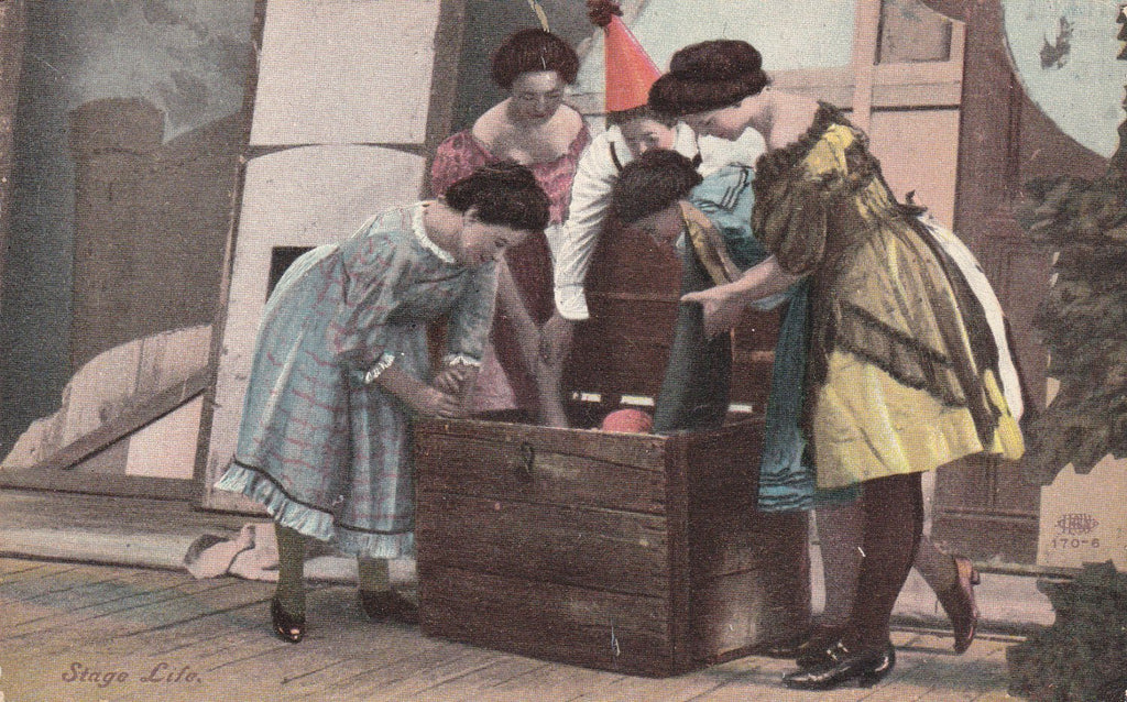 Stage Life- 1900s Antique Postcard- Actresses in Costumes- Backstage- Edwardian Actors- Trunk Show- Illustrated Post Card Co.