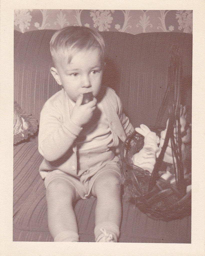 Chocolate Easter Egg- 1950s Vintage Photograph- Basket of Goodies on the Couch- Bunny Rabbits- Found Photo- Photo- Snapshot- Ephemera