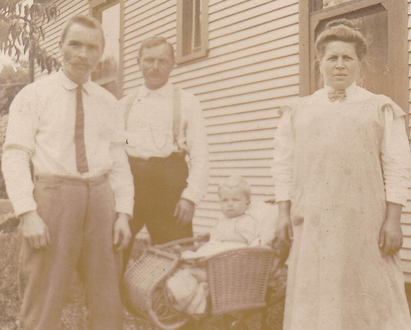 Meet the Claudes- 1910s Antique Photograph- Edwardian Family- Baby in Wicker Buggy- Identified- Real Photo Postcard- RPPC