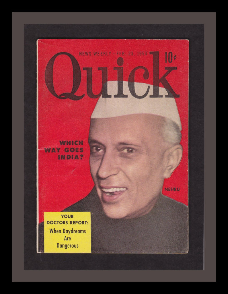 When Daydreams Are Dangerous- 1950 Vintage Magazine- Prime Minister of India- Jawaharlal Nehru- Quick Magazine- Weekly News- Paper Ephemera