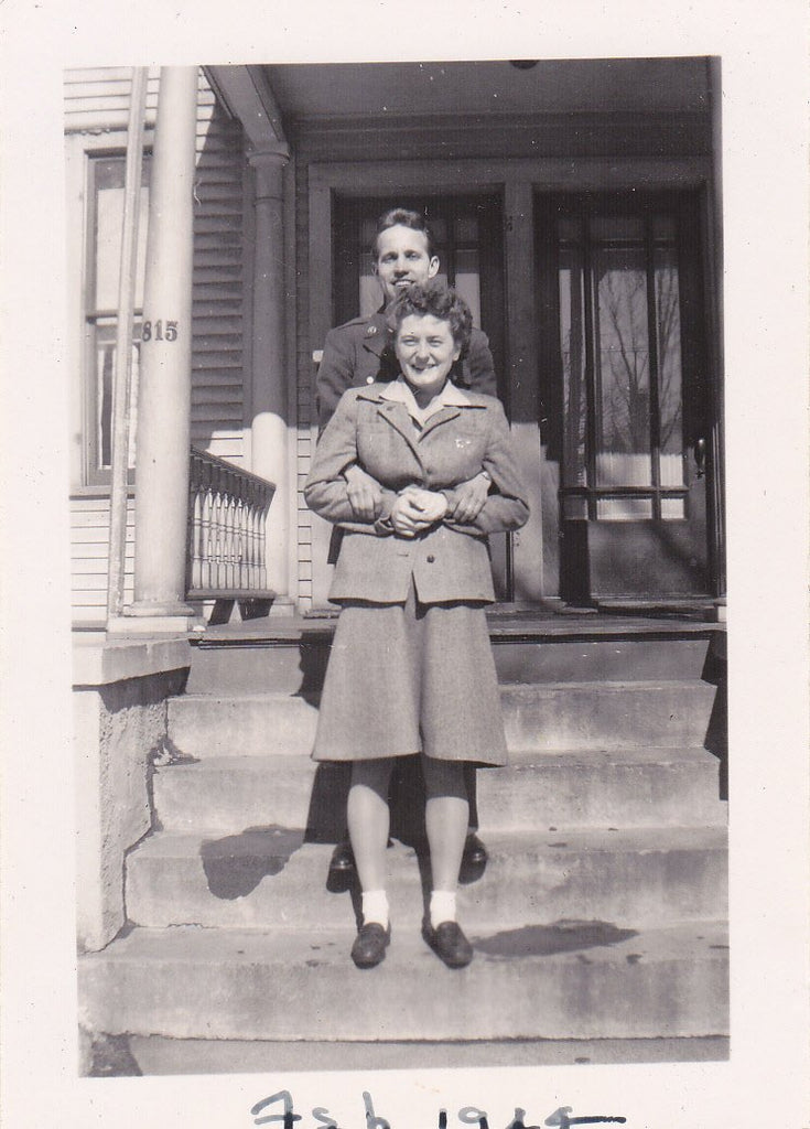 Hold Me For Keeps- 1940s Vintage Photograph- WW2 Soldier Hugging Girlfriend- Posing Couple- Wartime Snapshot- Found Photo- Paper Ephemera