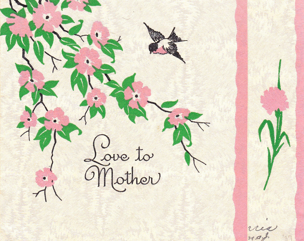 Love to Mother- 1930s Vintage Card- Birds and Flowers- Mother's Day Greeting- Used