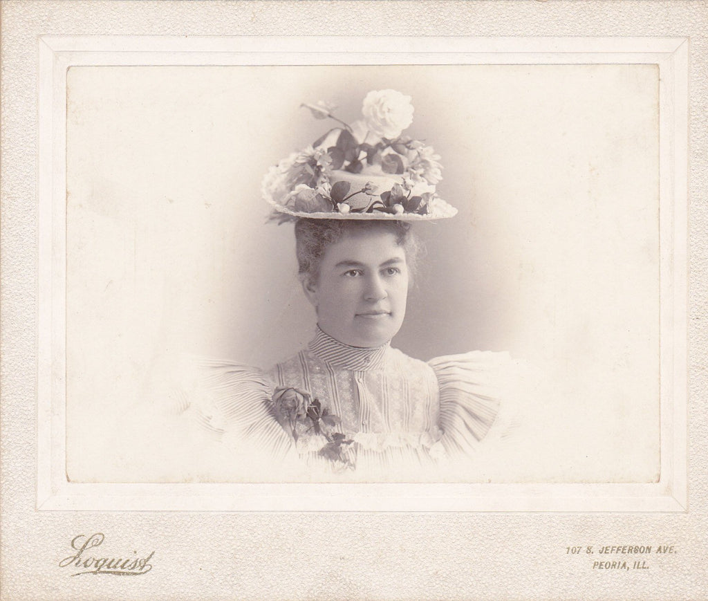 Rosy Girl- 1800s Antique Photograph- Victorian Decor- Cabinet Photo- Roses Straw Hat- Peoria, Illinois- 19th Century Woman- Photographer Loquist