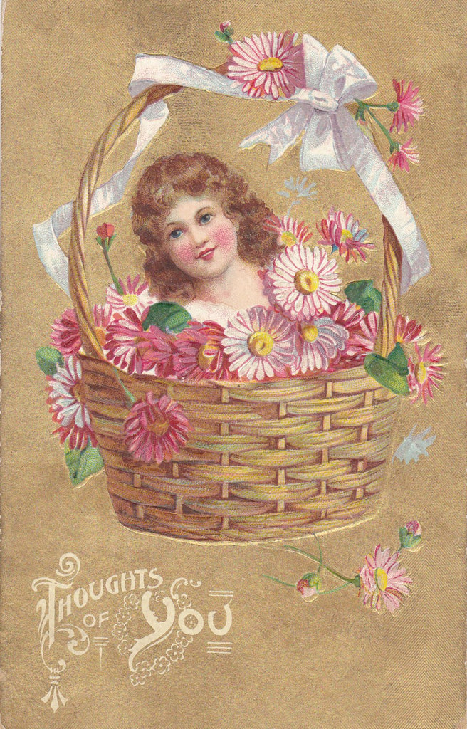 Thoughts of You-  1910s Antique Postcard- Disembodied Head in Flower Basket- Edwardian Decor- Floral Greeting- H G Zimmerman- Used