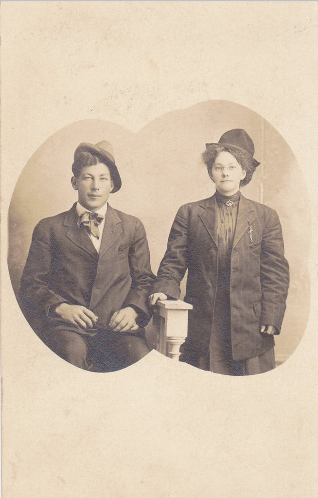 Who're You Calling Lady- 1900s Antique Photograph- Handsome Duo- Woman in Man's Suit Coat- Real Photo Postcard- AZO RPPC