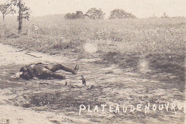 Attack of the Plateau De Nouvron- 1910s Antique Photograph- WWI France- Battlefield Dead Soldiers- Real Photo Postcard- RPPC- Eyewitness History