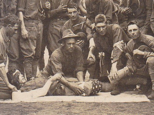 What Happened to Right Guard- 1910s Antique Photograph- Field Amputation- WWI Soldiers- Prosthetic Leg- Real Photo Postcard- RPPC