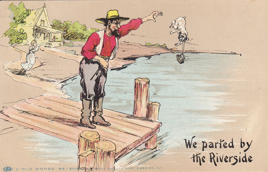 We Parted By The Riverside- 1900s Antique Postcard- Farmer Throwing Dog in River- Old Songs Re-Sung- Strange- Art Comic- Dark Humor- Used