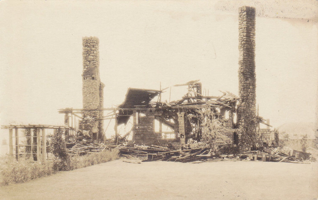 Like a Tinder Box- 1910s Antique Photograph- House Fire Aftermath- Burned Ruins- Vermont Disaster- Real Photo Postcard- AZO RPPC