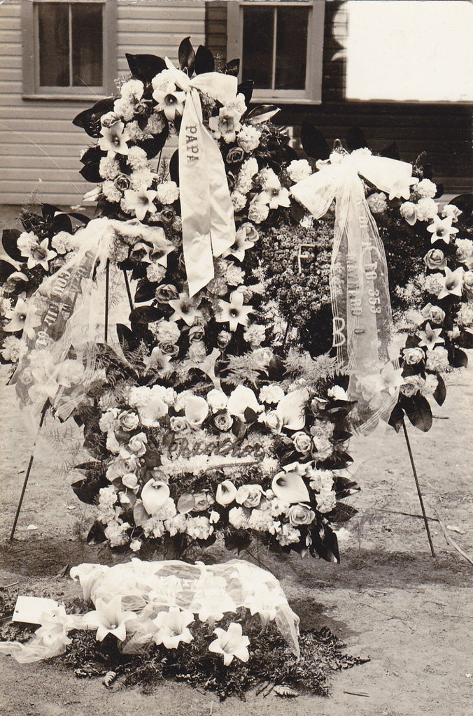 Peace For Papa- 1910s Antique Photograph- Funeral Flower Wreaths- Bridgeport, Ohio-  Real Photo Postcard- AZO RPPC