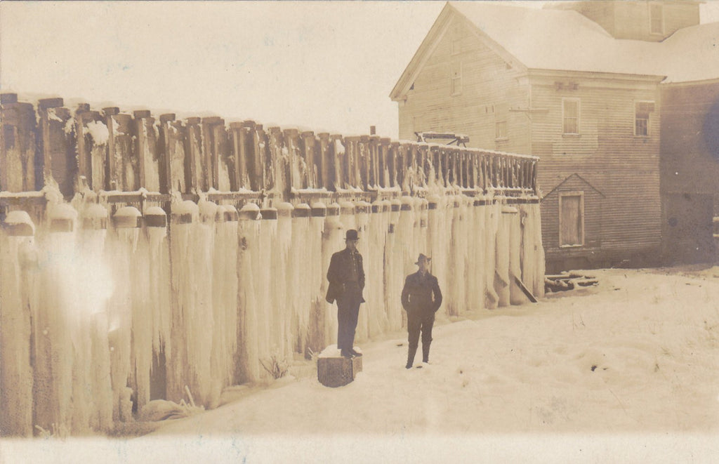 Frozen Lake Sea Wall- 1900s Antique Photograph- Winter Weather in Wisconsin- Freezing Cold- Edwardian Men- Real Photo Postcard- Cyko RPPC