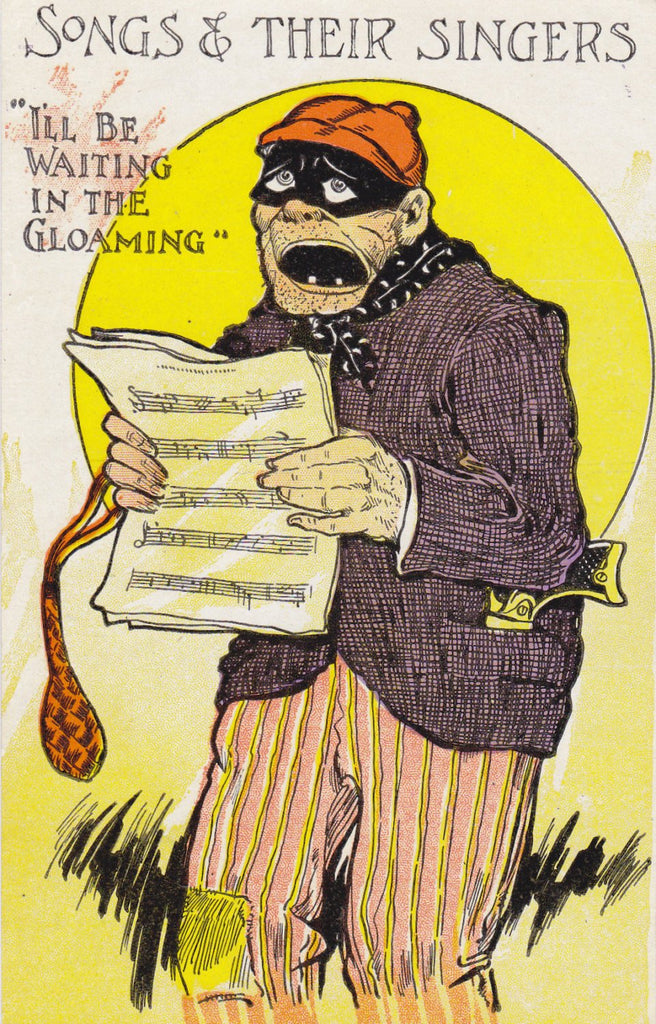 I'll Be Waiting In The Gloaming- 1910s Antique Postcard- Masked Bandit- Burglar Thief- Songs and Their Singers- Art Comic- Albert Hahn