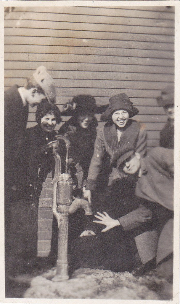 What's So Funny- 1910s Antique Photograph- Frozen Water Pump- Edwardian Friends- Group Snapshot- Winter