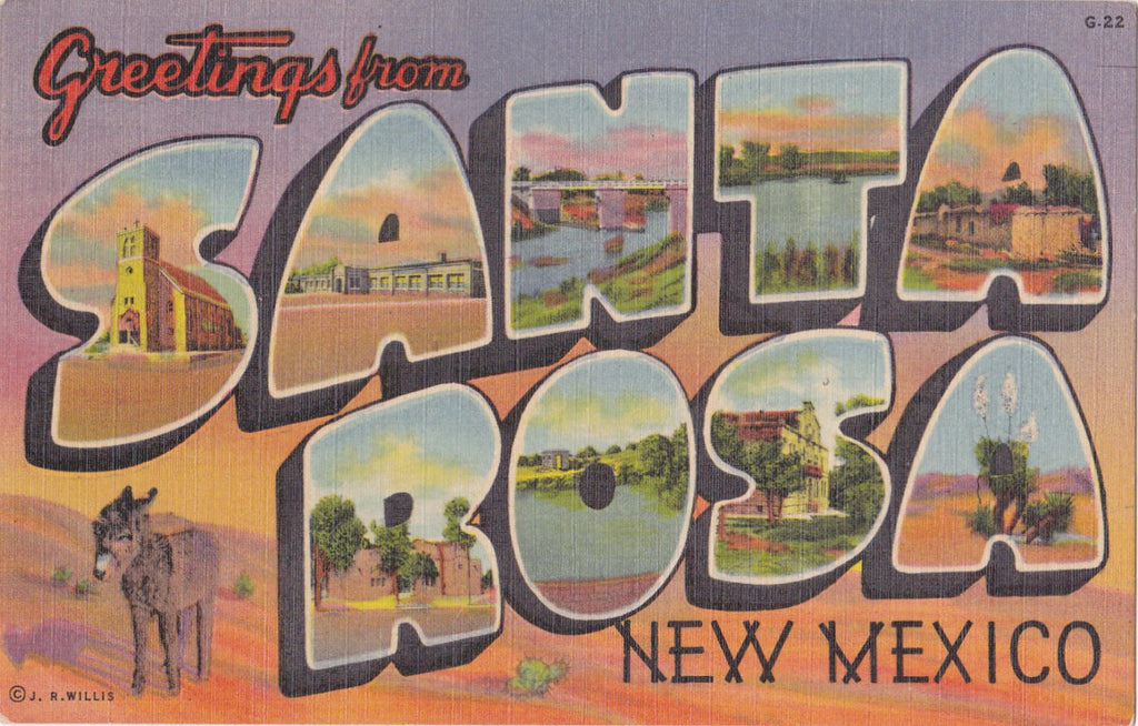 Greetings From Santa Rosa, New Mexico- 1950s Vintage Postcard- Large Letter- Classic Souvenir- Southwest Post Card Co.- Landmarks- Used