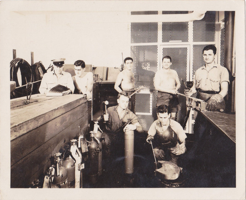 Onboard Metal Shop- 1940s Vintage Photograph- Crewmen of USS Cebu- WWII Sailors- Wartime Snapshot- Old Photo- Shirtless Men