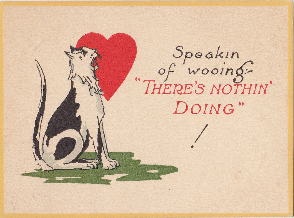 Speaking of Wooing, There's Nothing Doing- 1920s Antique Card- Black and White Tom Cat- Classic Red Heart- 20s Valentine- Unused