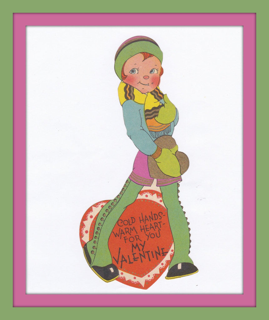 Cold Hands, Warm Heart For You- 1930s Vintage Card- My Valentine- Thigh-High Spats and Woolen Mittens- Used