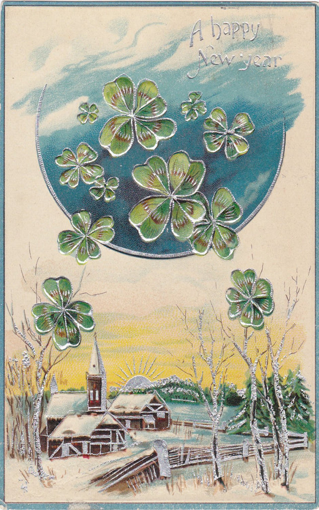 Luck of the New Moon- 1900s Antique Postcard- Happy New Year- Four Leaf Clovers- Holiday Card- Edwardian Decor- Embossed- Used