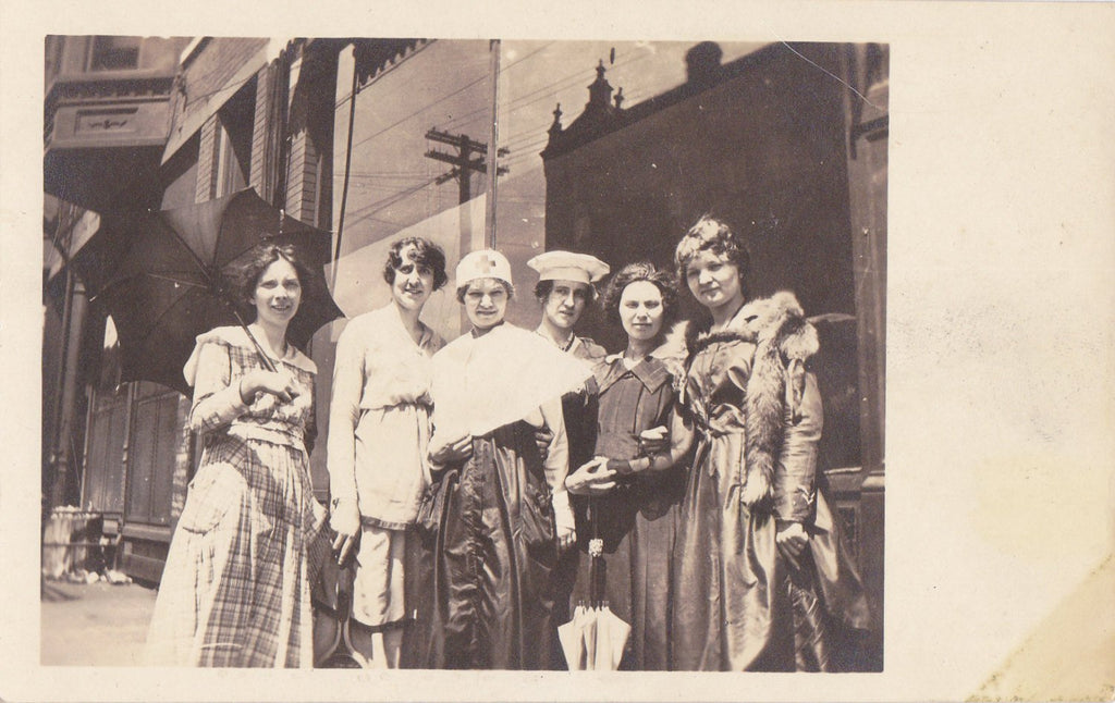 Inseparable- 1910s Antique Photograph- Best Friends Forever- Edwardian Women- Umbrella- Red Cross Nurse- Real Photo Postcard- AZO RPPC