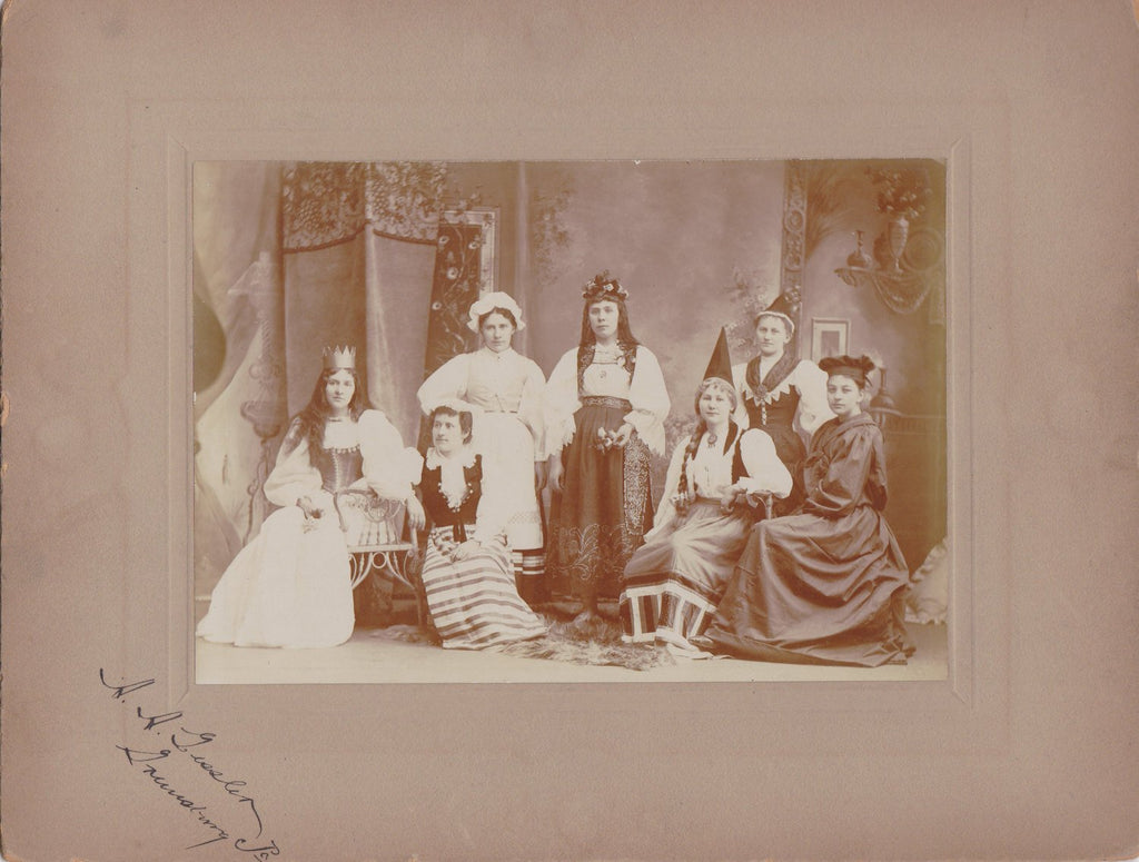Traditional Swedish Wedding-  1900s Antique Photograph- Bridal Party Beauties- Women in National Costume- Old Cabinet Photo- Paper Ephemera