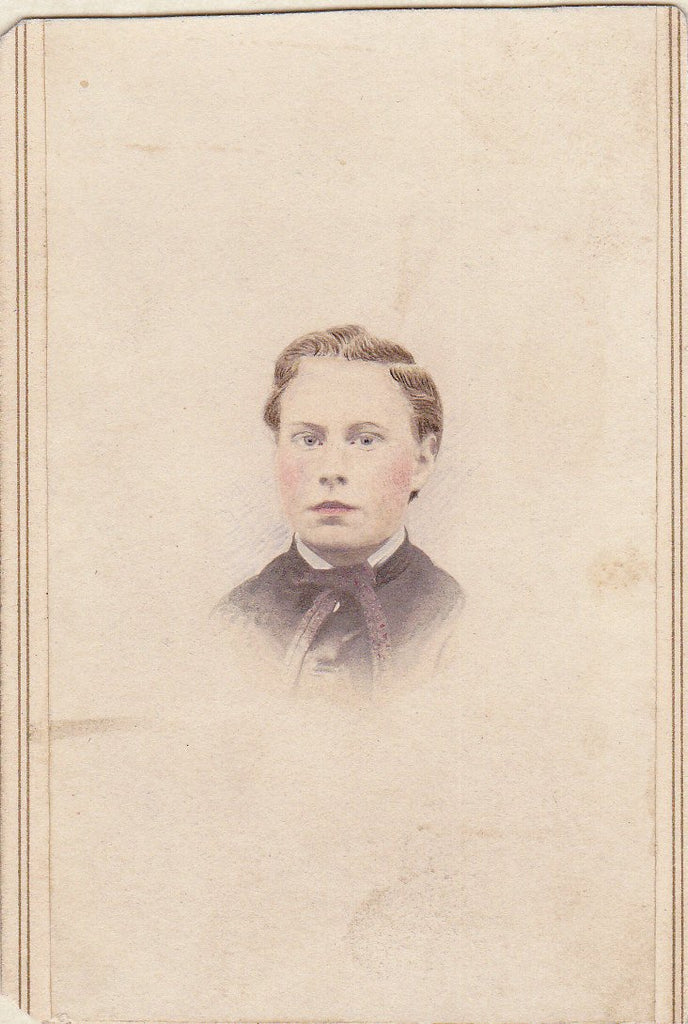 Young Master- 1800s Antique Photograph- Handsome Youth with Rosy Cheeks- Victorian Portrait- Hand Tinted- CDV Photo