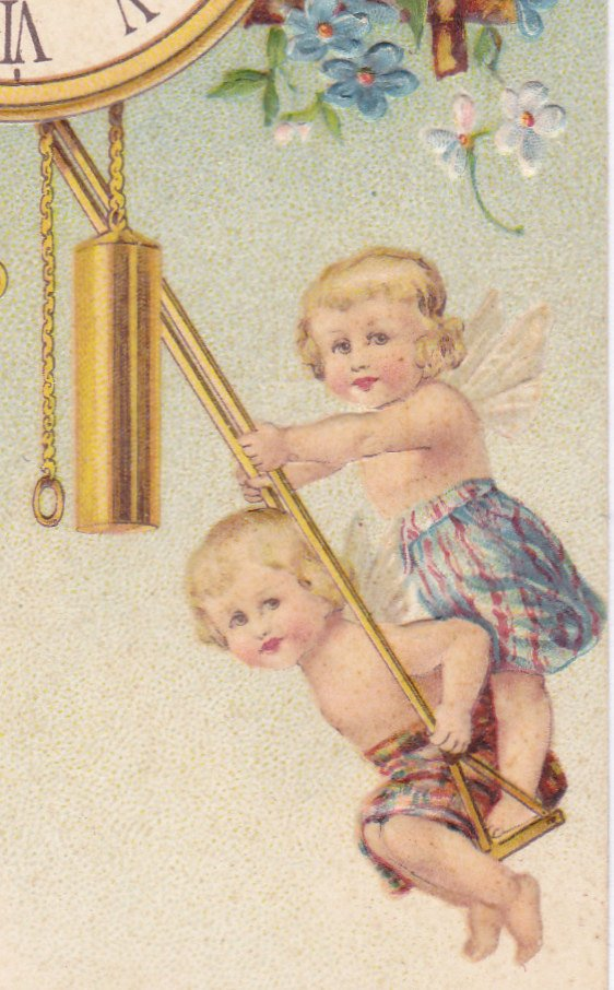 True Hearty Pleasures- 1900s Antique Postcard- New Years- Pendulum Clock- Midnight Hour- Cherubs- Fairies- Edwardian Fantasy- Embossed- Used