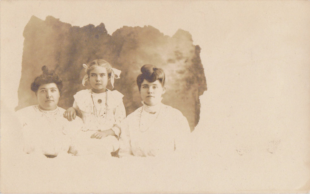 Charming Trio- 1900s Antique Photograph- Edwardian Mother and Daughters- Fancy Hairstyles- Real Photo Postcard- RPPC- Paper Ephemera