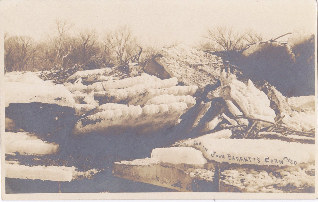 Ice in John Barrett's Corn Field- 1910s Antique Photograph- Winter Flood- Jan 12, 1910- Cottonwood Valley, Missouri- AZO RPPC- Real Photo Postcard